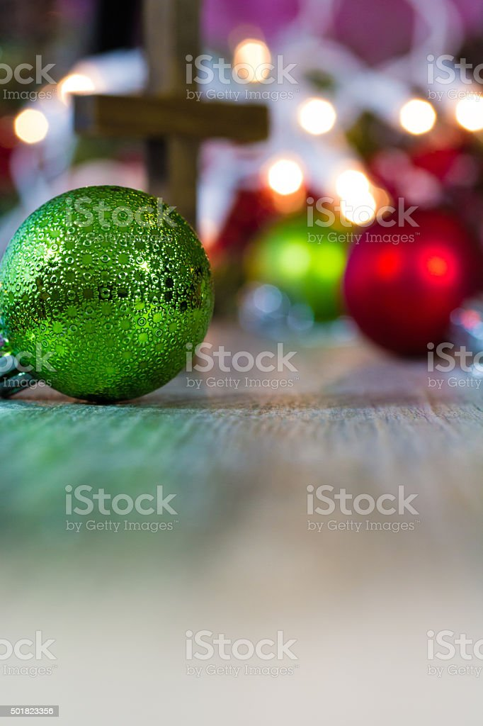 Colorful Christmas Ornaments And Christian Cross Stock Photo Download Image Now Istock