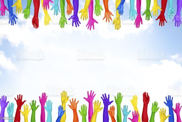 Colourful Hands Raised With Blue Sky Stock Photo More