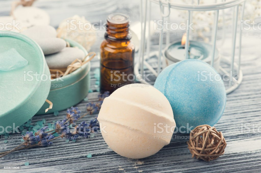 Spa Composition With Essential Oil Bath Bomb Stock Photo ...
