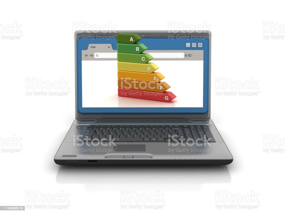 medium resolution of computer laptop with web browser and energy efficiency diagram 3d rendering stock image