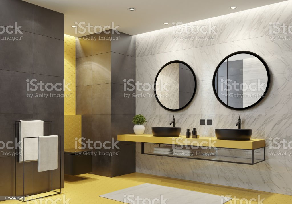 contemporary bathroom with yellow honeycomb tiles stock photo download image now istock
