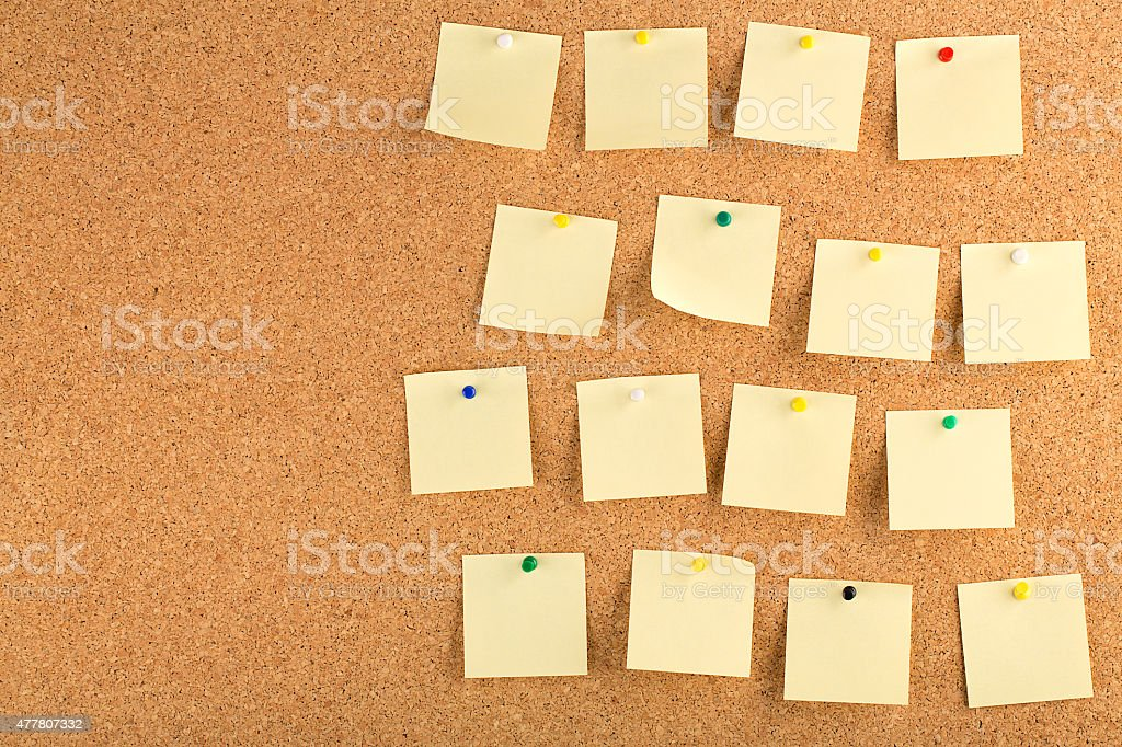 cork board with sticky