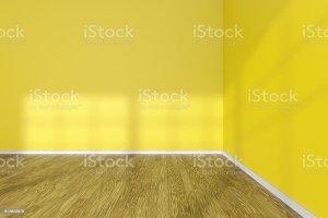 empty yellow corner walls floor wooden parquet wall clipart interior hardwood window dreamstime illustration