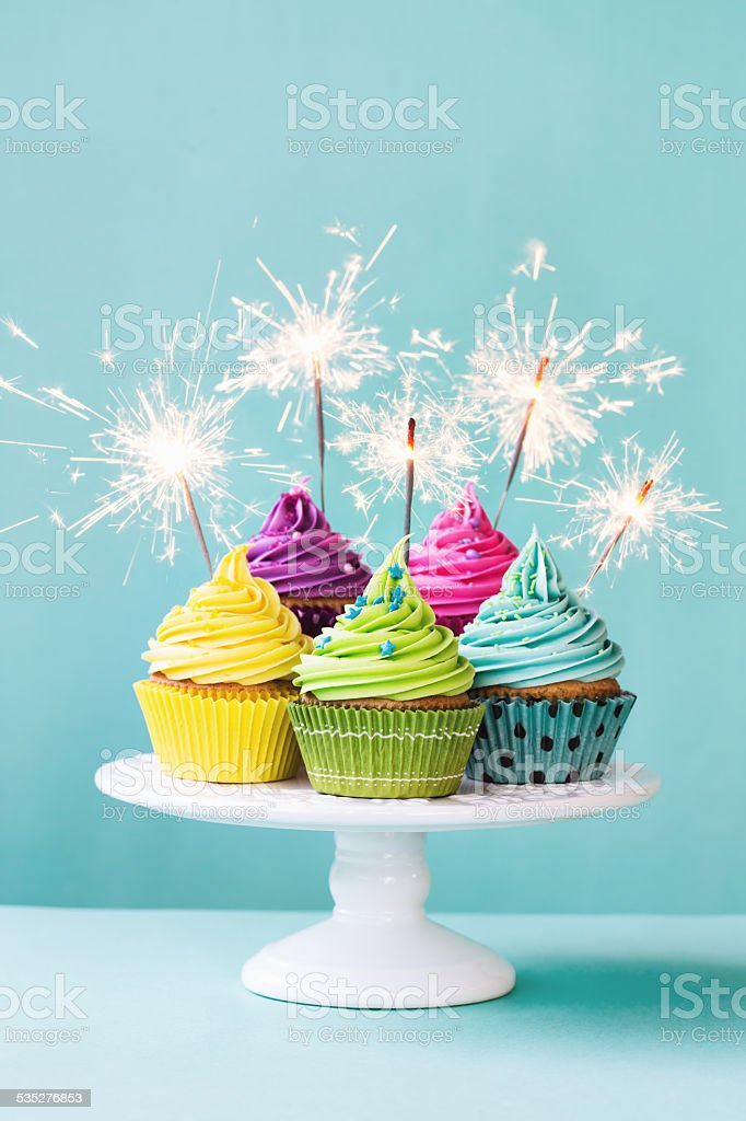 Cute Pastel Rainbow Wallpaper Cupcakes With Sparklers Stock Photo Amp More Pictures Of