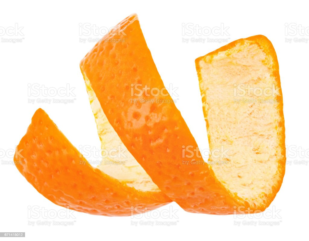 Curl Mandarin Peel Isolated On White Background Stock Photo - Download Image Now - iStock