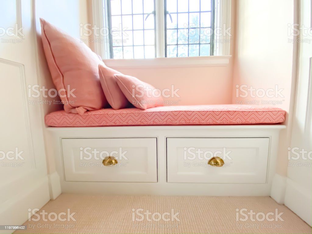 custom built window seat with custom cushion and pillows stock photo download image now istock