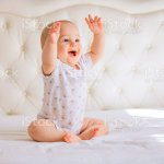 Cute Baby Boy In White Sunny Bedroom Stock Photo Download Image Now Istock
