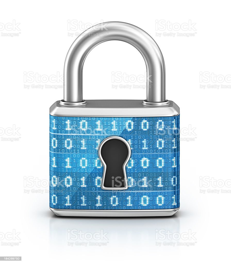 Cyber Locked Padlock Stock Photo & More Pictures Of Binary