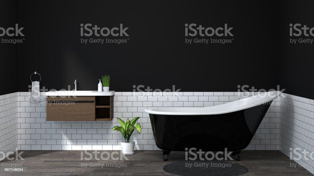 https www istockphoto com fr photo maison moderne douche toilettes salle de bains int c3 a9rieure de couleur sombre gm957246034 261379854