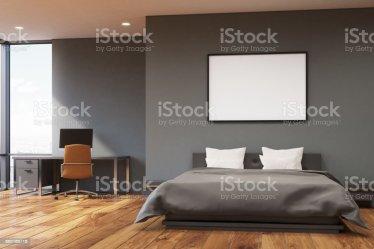 Pared Gris Oscuro Dormitorio Frente Foto de stock y más banco de imágenes de Acogedor iStock