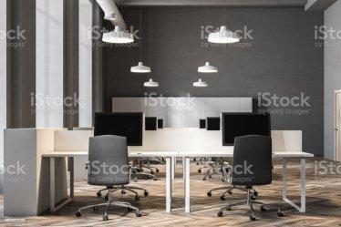 Cierre Interior De Oficina De Pared Gris Oscuro Foto de stock y más banco de imágenes de Arquitectura iStock