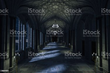 dark hallway palace castle interior moonlight through 3d windows lit fantasy shining background candles wall room bedroom render istock candle
