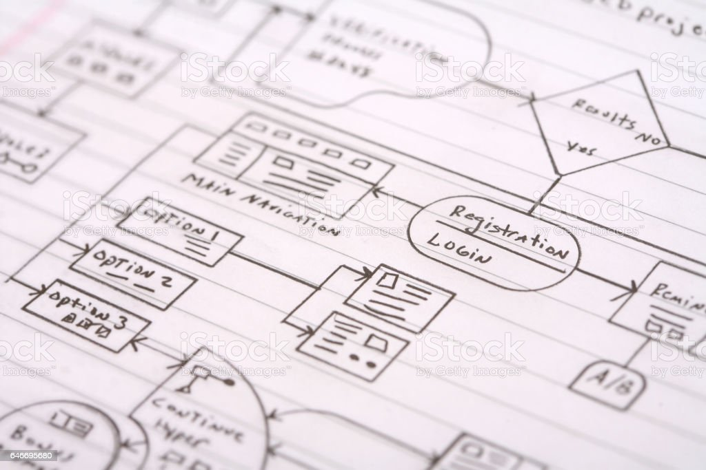 Data Flow Chart On Notebook Paper Stock Photo & More