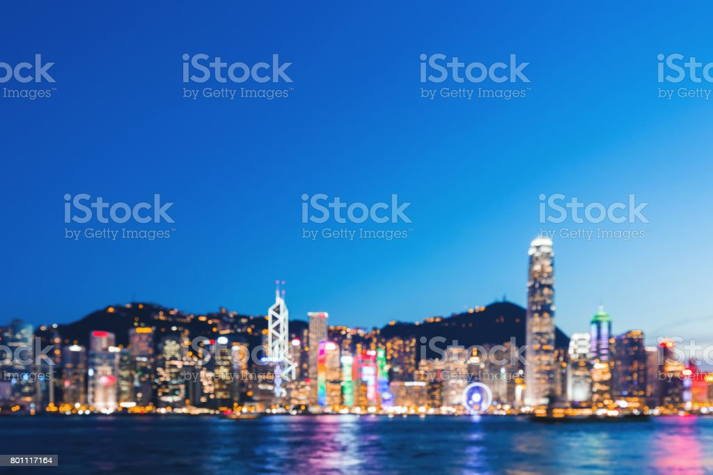 Victoria Harbor Hong Kong Waterfront Night Stock Photos. Pictures & Royalty-Free Images - iStock