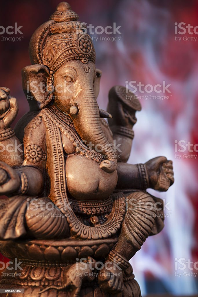 Deity Of Ganesha From India On Red Background Stock Photo - Download Image Now - iStock