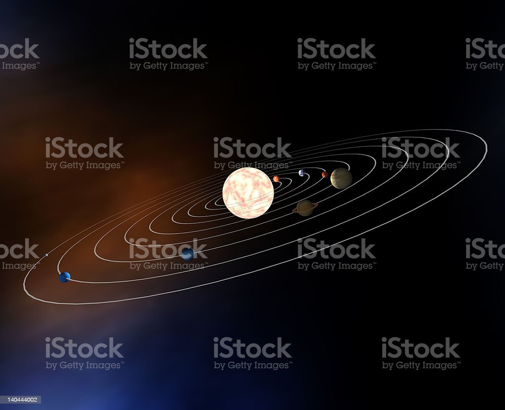 hight resolution of diagram of planets in the solar system stock image