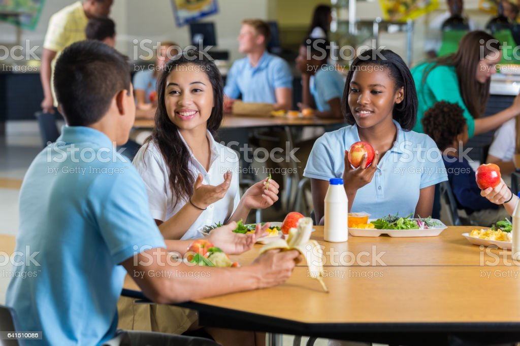 Diverse Teenage Friends Eat Lunch In School Cafeteria Stock Photo & More Pictures of African Ethnicity   iStock