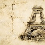 Eiffel Tower In Paris Vintage View Background Tour Eiffel Old Retro Style Photo With Cracks Crumpled Paper Stock Photo Download Image Now Istock