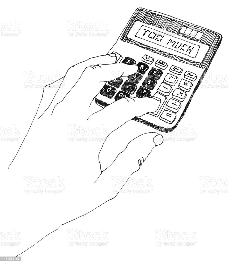 Electric Calculator Hand Drawing Stock Photo & More