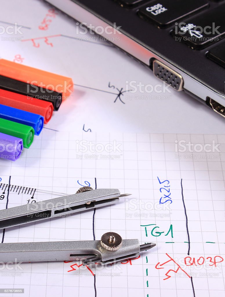 hight resolution of electrical diagrams accessories for drawing and laptop royalty free stock photo