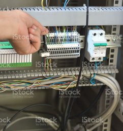 electrician checking wires terminal blocks electrical fuses and plc relay royalty free stock [ 904 x 1024 Pixel ]