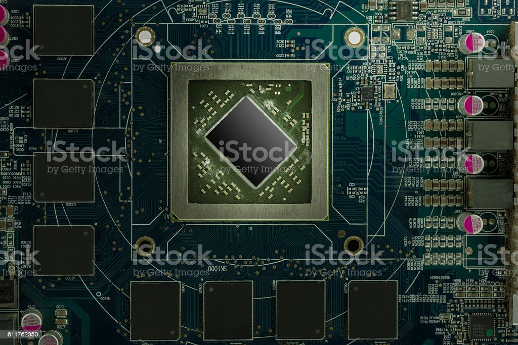 Electronic Circuit Board With Processor Close Up Stock