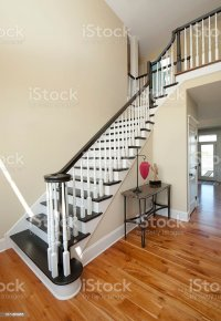 Elegant Entry Foyer White Black Staircase Wide Angle Home ...