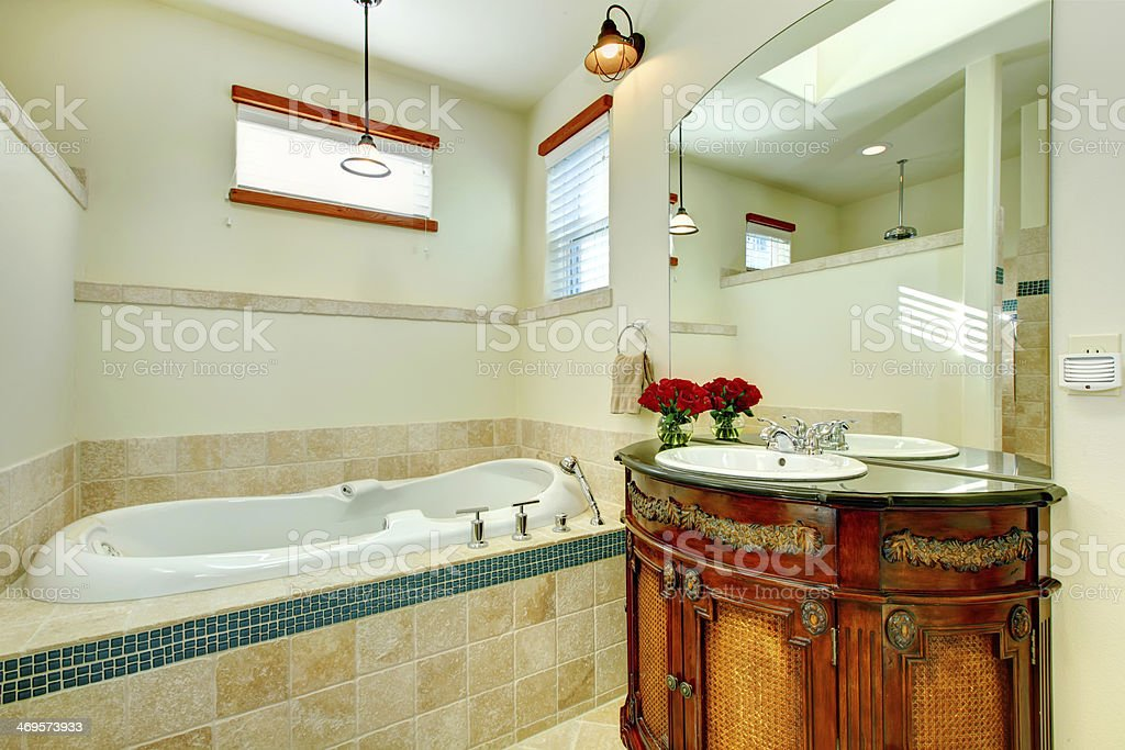 Elegant Modern Bathroom With An Antique Wooden Storage Cabinet Stock Photo Download Image Now Istock