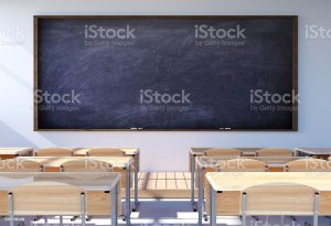 classroom empty desk student chairs interior blank blackboard backgrounds illustration royalty board class rendering desks puckett claire clipart college elementary