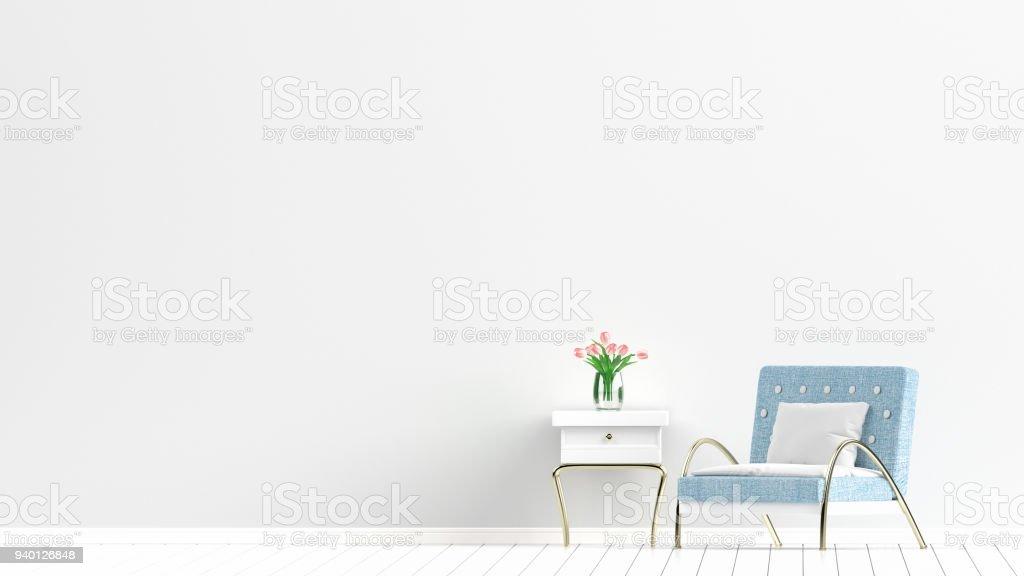Empty Living Room With White Wall And Light Blue Sofa