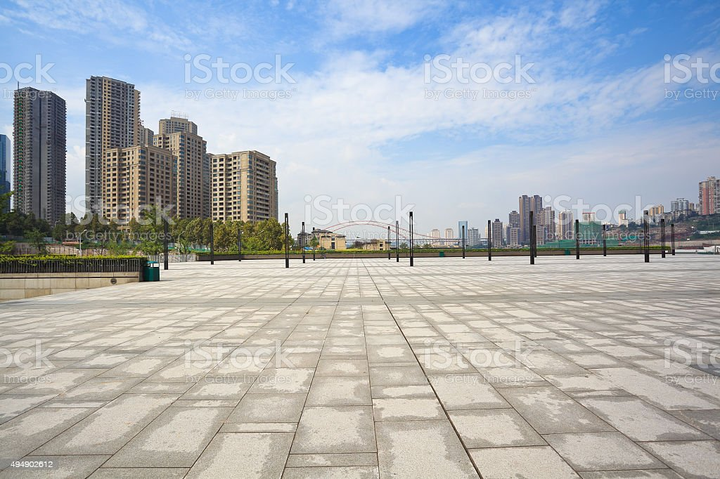 Empty Marble Floor With City Building Background Stock Photo  More Pictures of 2015  iStock