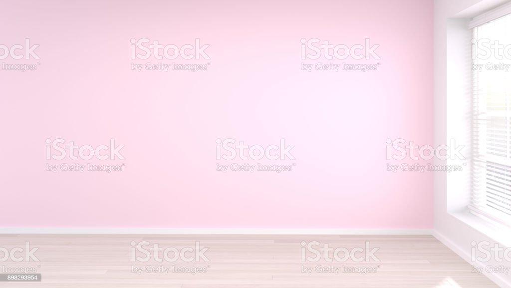 空粉紅色的房間白色和粉紅色的牆壁現代風格3d 渲染室是空的等待室內設計清潔木地板圖片複製空間 照片檔及 ...