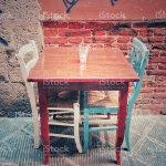 Empty Restaurant Table Rustic Set For Two Foto De Stock Y Mas Banco De Imagenes De Azul Istock