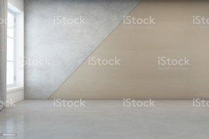 empty floor background concrete wall modern wooden interior clean