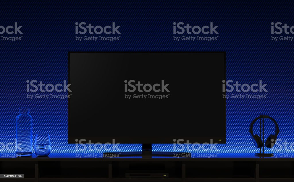 Empty Television Screen With Blue Lights Hidden 3d Render Stock Photo - Download Image Now - iStock