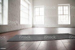 yoga studio empty mat floor space loft mats natural flooring wall brick istock wooden wood aerobics windows walls creating fitness