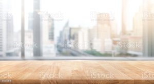 office window background blur empty table wood montage blurred visual key cityscape display blank corporate through bright rustic similar fotolia