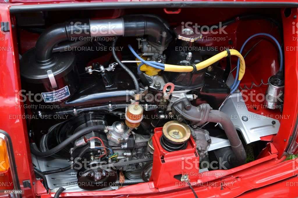 engine in classic fiat 500 stock photo download image now istock