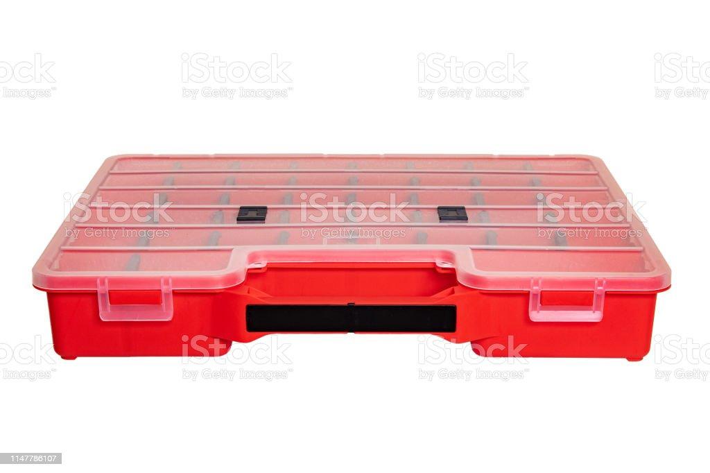 https www istockphoto com fr photo equipement de lartisan une bo c3 aete de rangement en plastique rouge professionnelle gm1147786107 309746487
