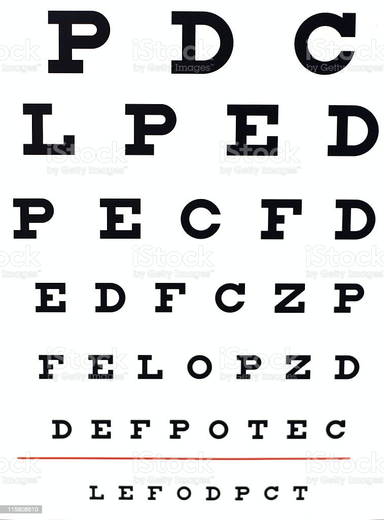 Eye Test Chart Stock Photo & More Pictures of Alphabet