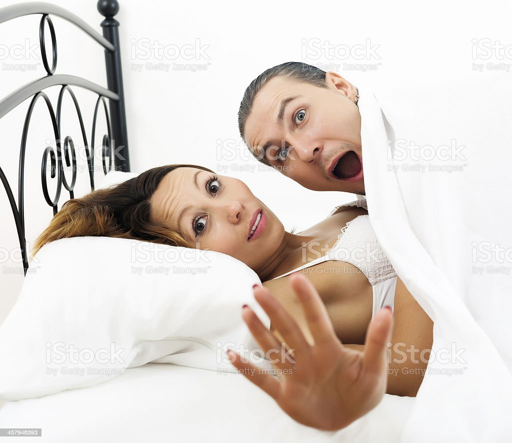 Frightened Man Caught During Sex With Girlfriend Stock ...