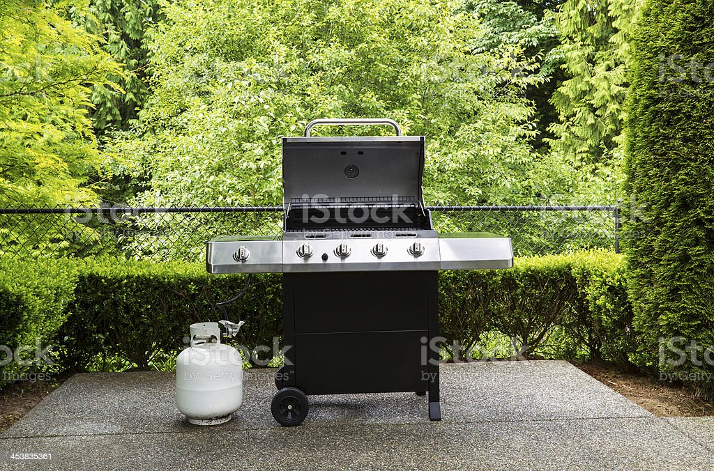 https www istockphoto com photo gas grill with white tank on outdoor patio gm453835361 25846486