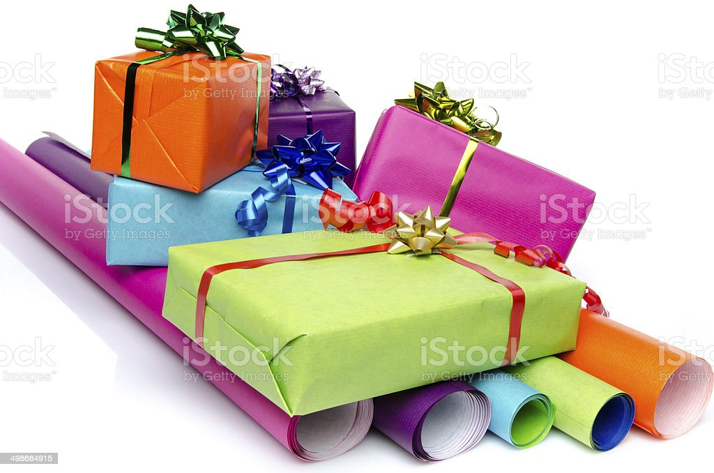 gifts on color papers
