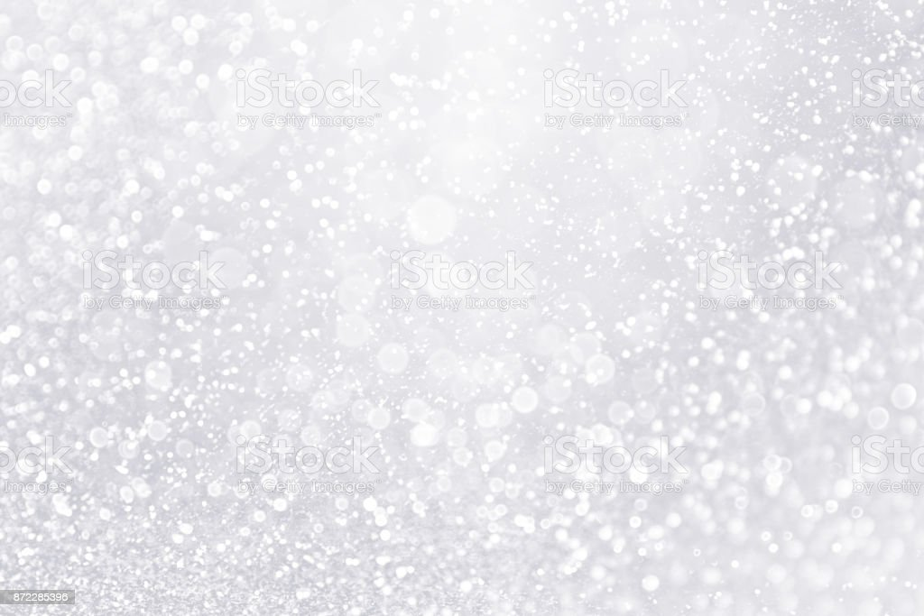 Glitter Winter Snow Fall White Silver Background Or Shiny