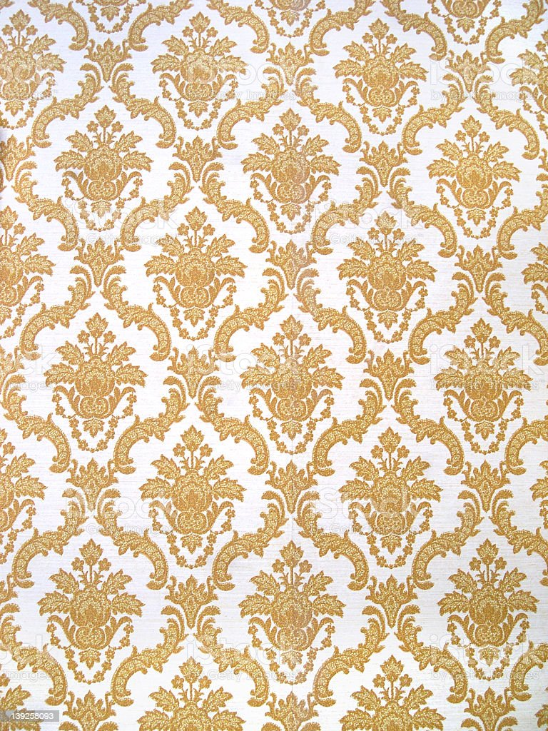 Gold And White Floral Patterned Wallpaper Background Stock Photo  More Pictures of Bleached