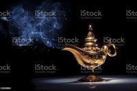 A Gold Genie Lamp With Smoke On Black Background Stock