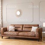 Gold Lampe Am Nachbartisch Leder Sofa In Grau Wohnzimmer Interieur Mit Poster Und Spiegel Echtes Foto Stockfoto Und Mehr Bilder Von Braun Istock