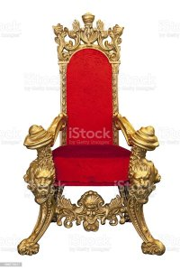 Golden Throne With Red Cushion Isolated On White Stock ...