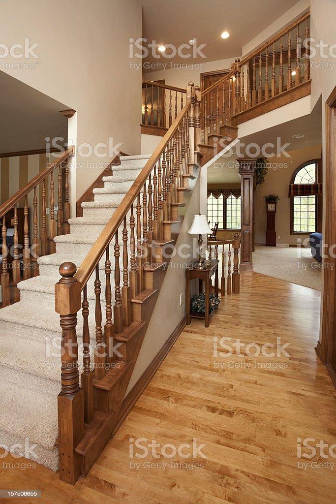 Grand Foyer Staircase Oak Railing Hardwood Floor Open