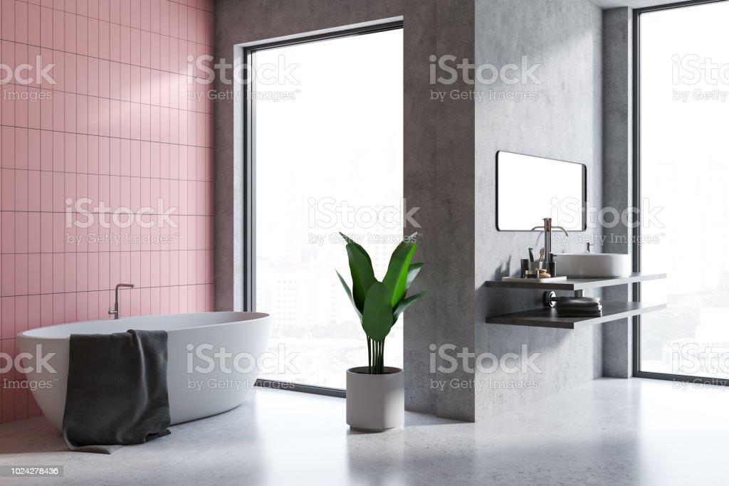 photo libre de droit de coin salle de bain carrelage gris et rose banque d images et plus d images libres de droit de a la mode istock